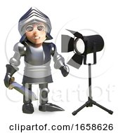 Cartoon Medieval Knight In Armour Is Dazzled By The Studio Light