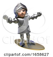 Rich Medieval Knight In Armour Surfs Of His Golden Surfboard