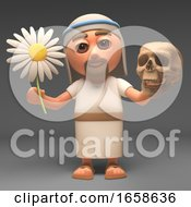 Philosophical Jesus Christ Holds A Flower And A Skull
