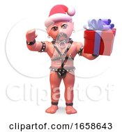 Seasonal Bald Gay Man In Bondage Outfit Wearing A Santa Hat by Steve Young