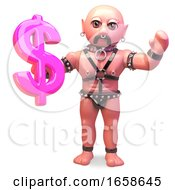 Gay Bondage Fetish Man Holding Pink US Dollar Currency Symbol by Steve Young