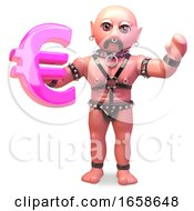 Fetish Gay Man In Bondage Outfit Holding Euro Currency Symbol by Steve Young