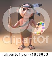 Poster, Art Print Of Artistic Native American Indian Holding A Paintbrush And Palette