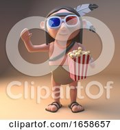 Native American Indian Watches 3d Movie Eating Popcorn