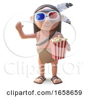 Poster, Art Print Of Native American Indian Watches Movie With 3d Glasses And Popcorn