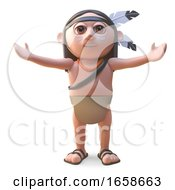 Cartoon Native American Indian With Arms Outspread by Steve Young