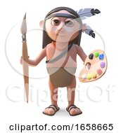 Poster, Art Print Of Artistic Native American Indian With Paintbrush And Palette