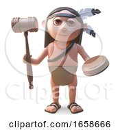 Cartoon Native American Indian Holding An Auction by Steve Young