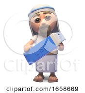 Cartoon Jesus Christ Backs Up Data On A USB Thumb Drive