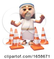 Cartoon Jesus Christ Son Of God Surrounded By Traffic Cones