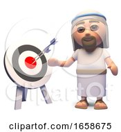 Jesus Christ Contemplates Accuracy Looking At A Target And A Bullseye