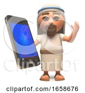 Connected Jesus Christ Son Of God Using A Smartphone Tablet Device
