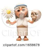 Jesus Christ Contemplates Life And Death With A Flower And A Skull