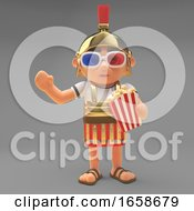 Poster, Art Print Of Funny Roman Centurion Soldier Watches A Movie In 3d Glasses Eating Popcorn