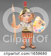 Poster, Art Print Of Artistic Roman Centurion Soldier With Paintbrush And Palette