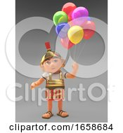 Celebratory Roman Centurion Soldier With Party Balloons