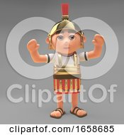 Cheering Roman Centurion Soldier With Arms In The Air