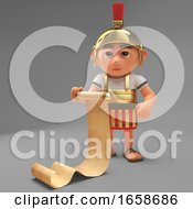 Logistically Minded Roman Centurion Soldier Reads His Scroll