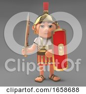 Defensive Roman Centurion Soldier With Sword And Shield