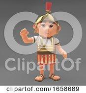 Friendly Roman Centurion Soldier Waves A Cheerful Hello