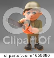 Able Bodied Army Soldier Using A Chainsaw