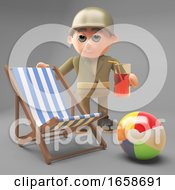 Cartoon Army Soldier On Holiday With Deckchair Beachball And Drink