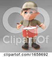 Musical Army Soldier Playing The Marching Drum