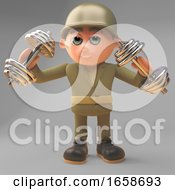 Healthy Army Soldier Exercises With Dumbell Weights