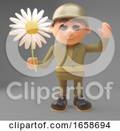 Peaceful Army Soldier Waves While Holding A Flower