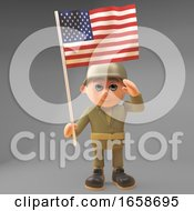 Proud Army Soldier Salutes While Carrying The American Flag