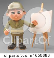 Strategic Minded Army Soldier Plans On The Easel