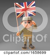 Proud Army Soldier Salutes While Carrying The British Flag