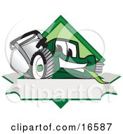 Clipart Picture Of A Green Lawn Mower Mascot Cartoon Character On A Blank Label