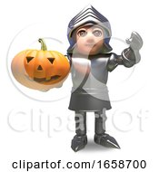Heroic Medieval Knight In Armour Holding A Halloween Pumpkin