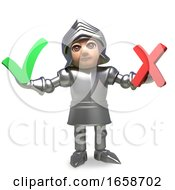 Medieval Knight In Armour Decides In A Vote Between Yes And No