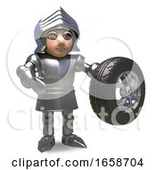 Automotive Minded Medieval Knight Holds A Car Wheel And Tyre
