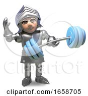 Health Conscious Medieval Knight In Armour Exercises With Weights