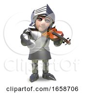 Musical Medieval Knight In Armour Playing A Violin