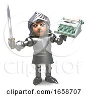 Medieval Knight In Armour Will Write His Memoirs With This Typewriter
