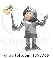 Chivalrous Medieval Knight Pierces A Ticket With His Sword