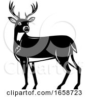Whitetail Deer Side View Woodcut