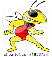 Hornet Or Yellow Jacket School Mascot Character In A Wrestling Suit