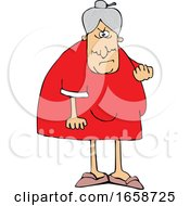 Cartoon Mad Granny Flipping The Bird
