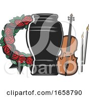 Funerary Urn Violin And Rose Wreath