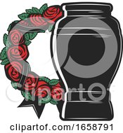 Poster, Art Print Of Funerary Urn And Rose Wreath