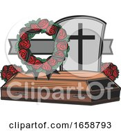 Casket With Flowers And A Cross