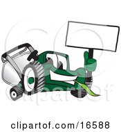 Green Lawn Mower Mascot Cartoon Character Waving A Blank Sign by Toons4Biz