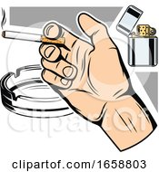 Hand Holding A Cigarette With A Lighter And Ash Tray
