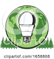 Poster, Art Print Of Earth And Lightbulb Over Trees
