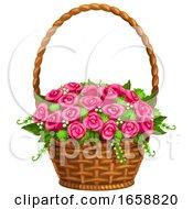 Poster, Art Print Of Basket Of Pink Flowers